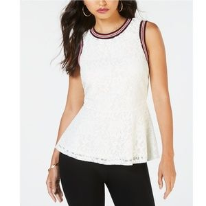 THALIA SODI Laced Striped Trim Top